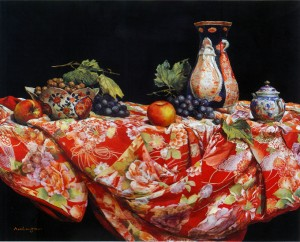 Still Life on the Kimono cloth Materials: oil on canvas